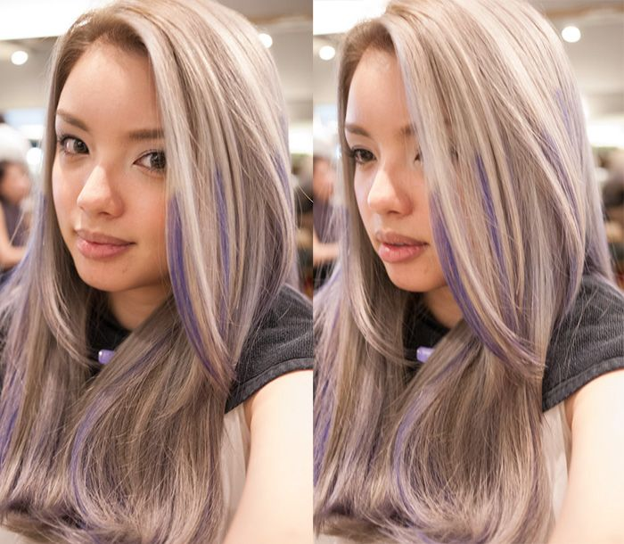 Grey Hair On Pinterest Silver Hair Purple Highlights