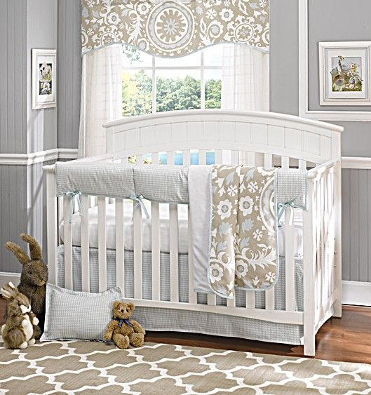 Powder Blue Baby Bedding Set By Liz And Roo Made In America Linen White Suzani Houndstooth With Rail Cover No Per