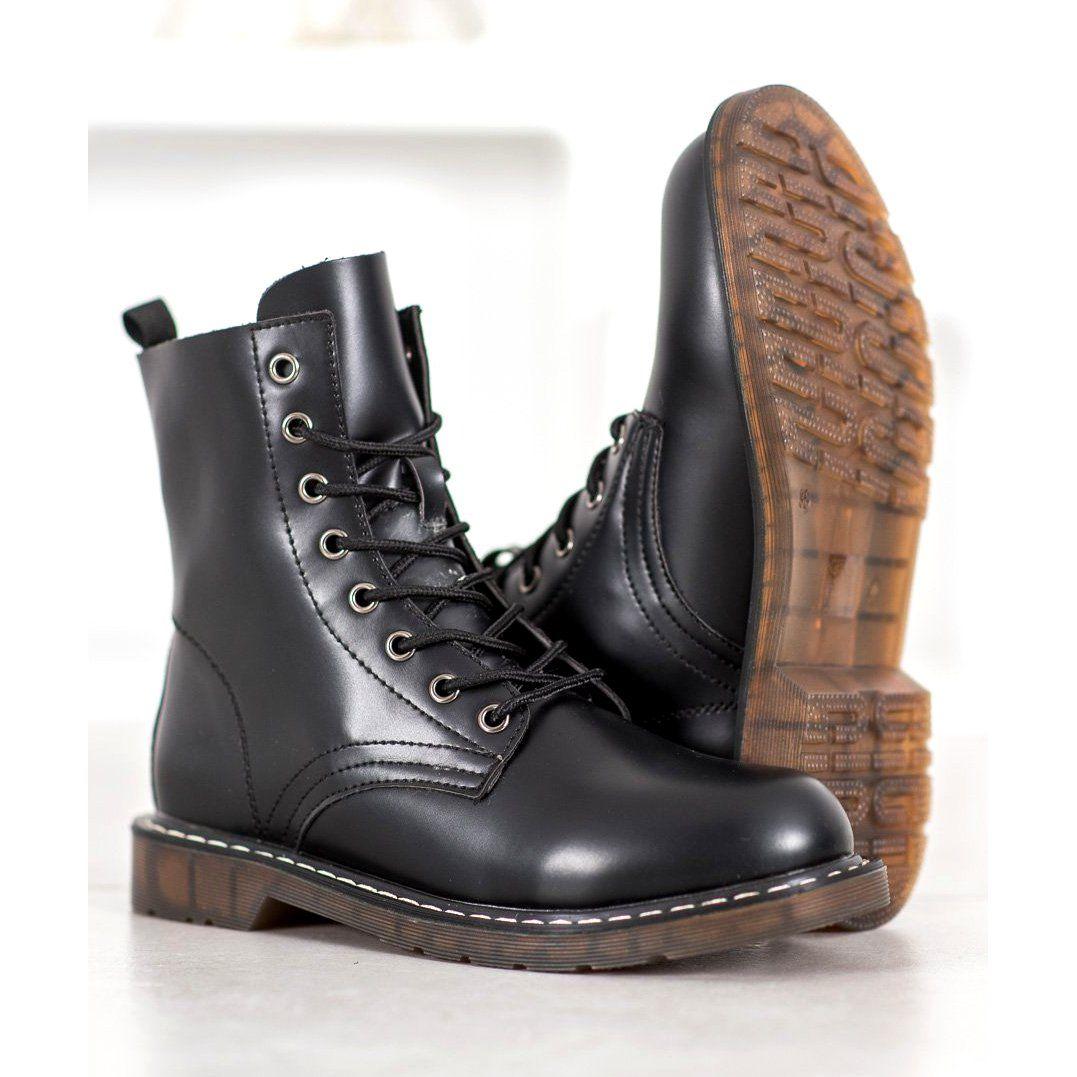 Kylie Stylowe Trapery Z Eko Skory Czarne Combat Boots Boots Dr Martens Boots