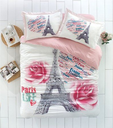 c02d0742a21906 100% Turkish Cotton Ranforce Paris Eiffel Tower Theme Pink Roses Themed  Full Double Queen Size Quilt Duvet Cover Set Bedding 4 Pcs!! Made in Turkey