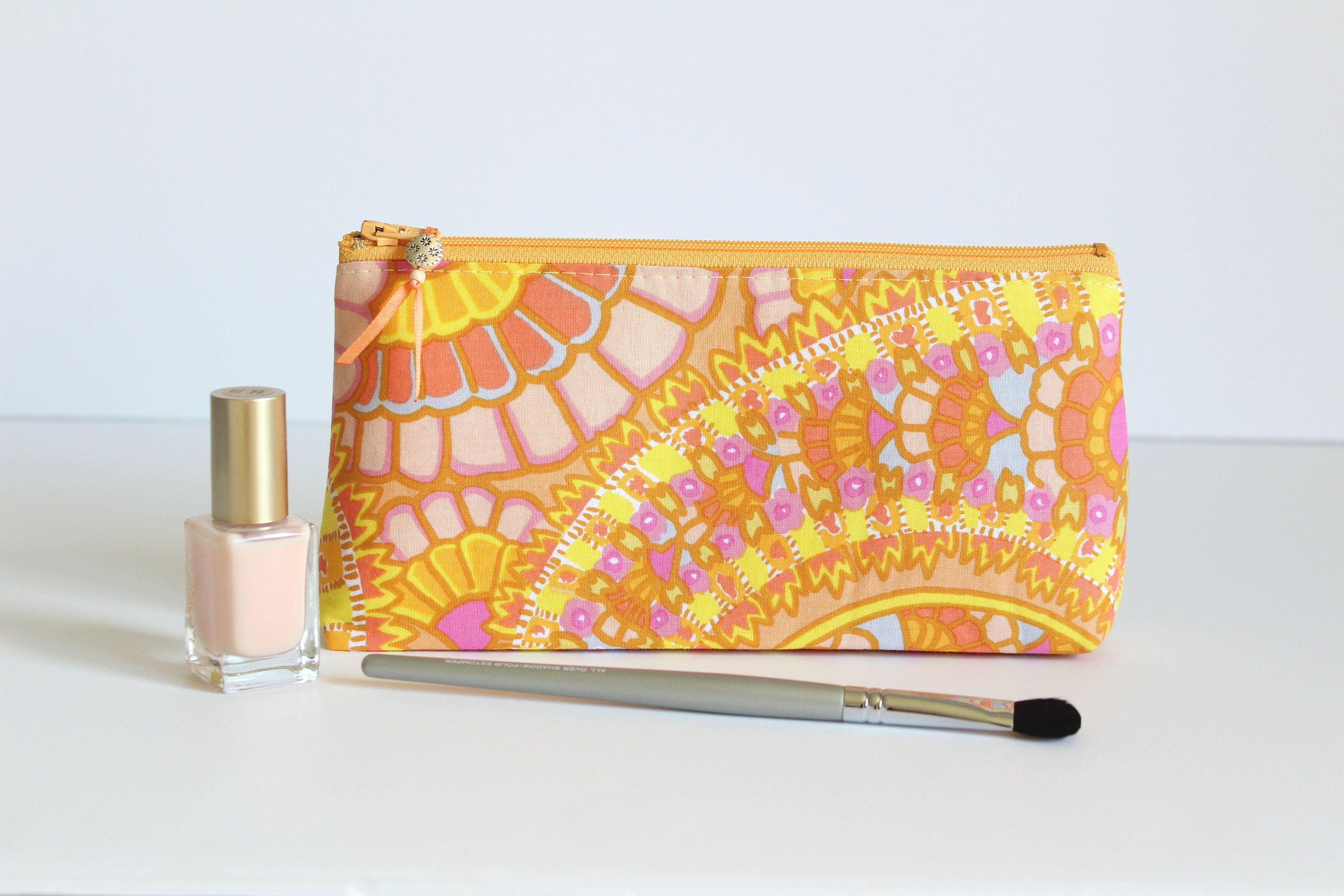 Yellow Makeup Bag, Yellow Gift For Her, Yellow Cosmetic