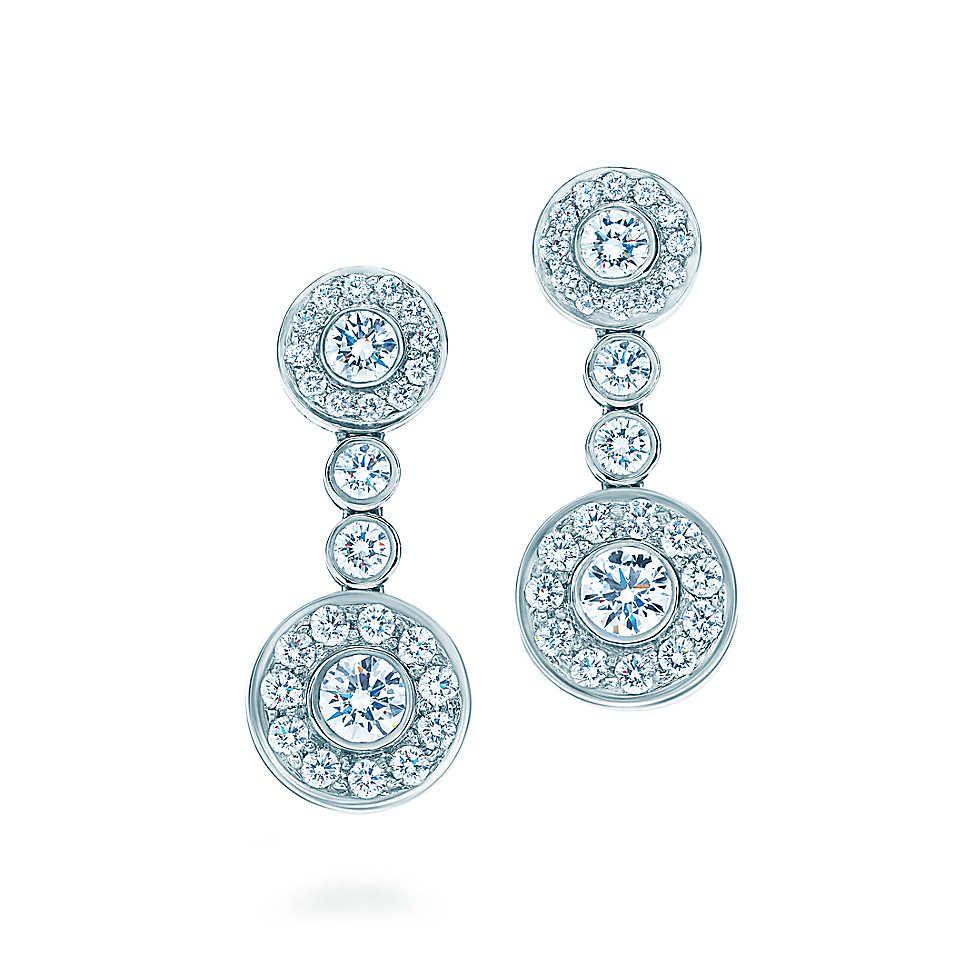 Tiffany Circlet drop earrings of diamonds in platinum. | Tiffany & Co.