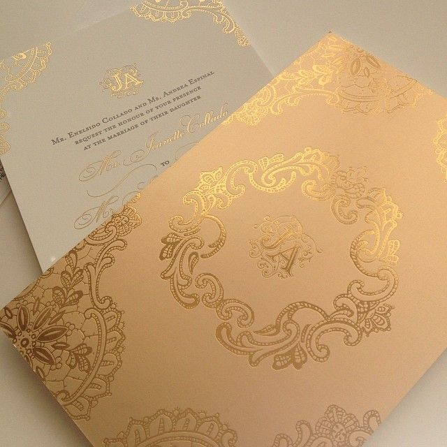 Gold foil and letterpress wedding invitation with lace