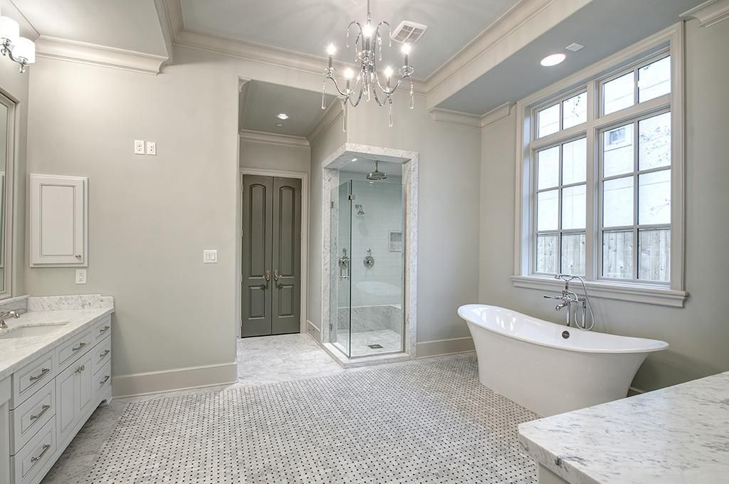 Master Bathroom With His And Her Vanities Separate Closets And Water Closets Windows Recessed And Scon Free Standing Tub Find Homes For Sale Master Bathroom