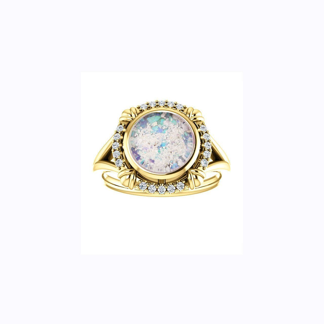 8mm Round Glass Cremation Ring 10k Yellow Gold And Diamond Ring Cremation Jewelry Ash Ring Ash Jewelry Ashes Jewelry Memorial Jewelry Ashes Urn Jewelry