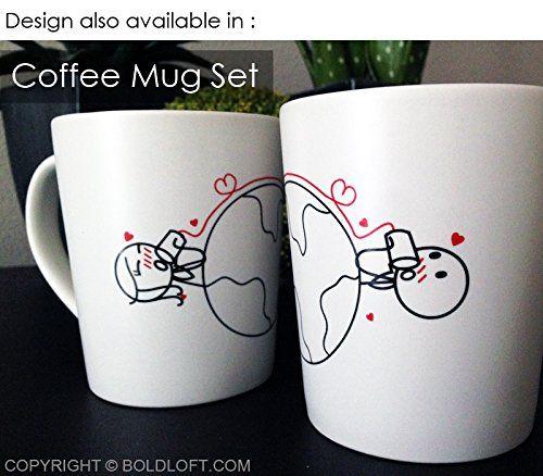 smart idea porcelain coffee mugs. long distance gift idea  coffee mugs DIY decorated with tin can phone across the globe
