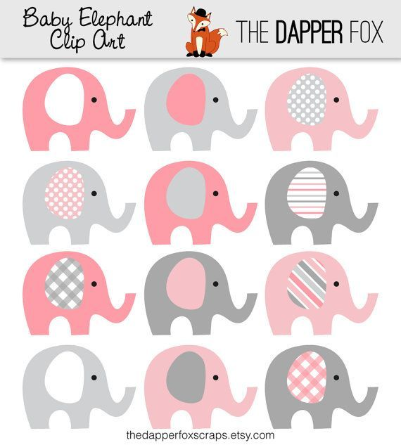 Pink And Grey Elephant Clip Art Instant Download Baby Girl Baby