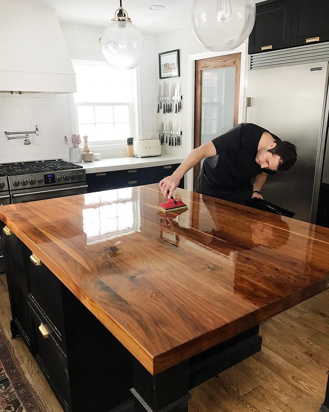 Black Walnut Island The Beauty Of Butcher Block Cheap Kitchen Countertops Kitchen Remodel Countertops Butcher Block Countertops