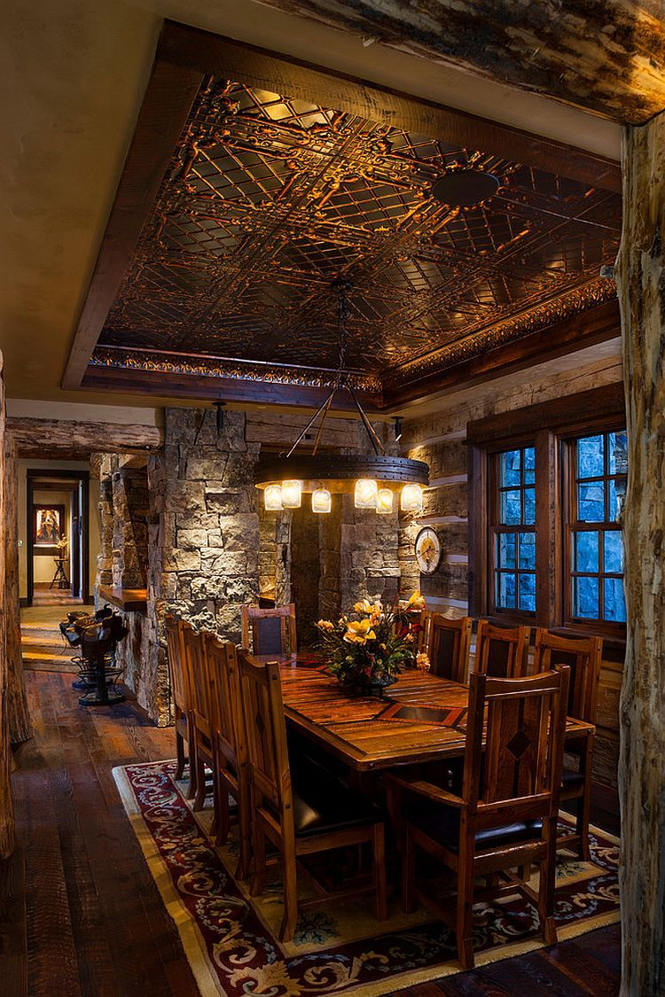 Log Cabin Dining Room Crafted From Stone And Reused Materials [Design:  Teton Heritage Builders]