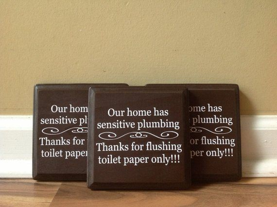 Set Of Bathroom Signs Our Home Has Sensitive Plumbing Septic System Rules Wooden Sign Plaque Do Not Flush Sign Bathroom Decor Do Not Dispose Bathroom Signs Septic System Wooden Signs