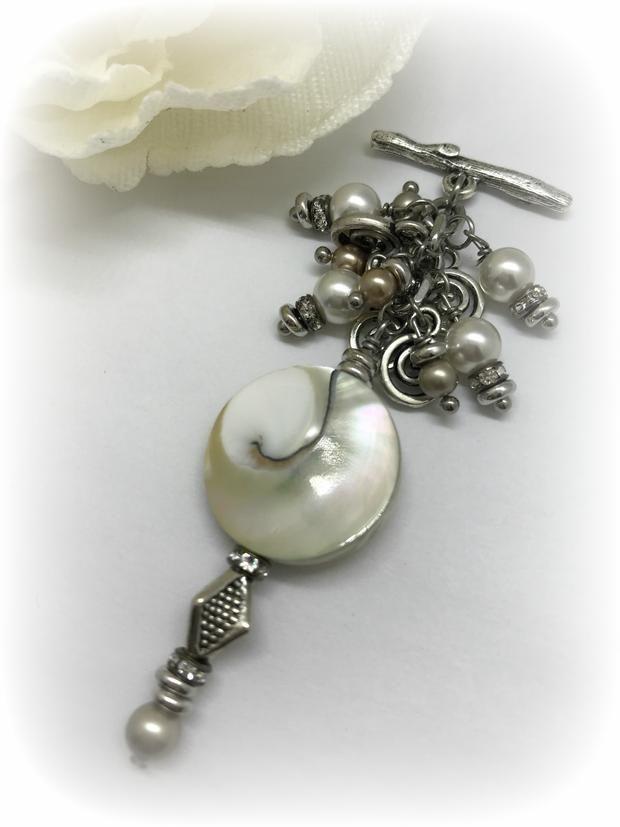 Abalone and swarovski pearl interchangeable beaded pendant necklace abalone and swarovski pearl interchangeable beaded pendant necklace bead dangle design aloadofball Choice Image