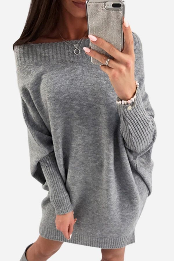 b2faf00880d Gray Bat Sleeve Boat Neck Casual Loose Sweater Dress in 2019 ...