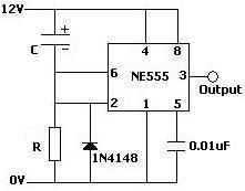 monostable operation delay on ne555 circuit used to