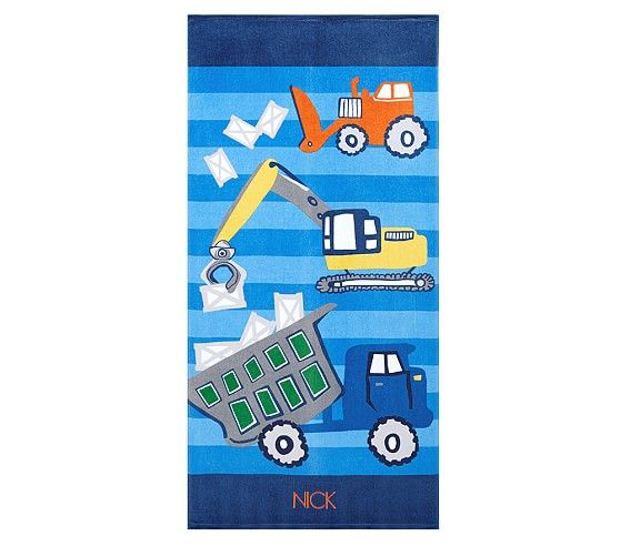 Classic Construction Kid Beach Towel With Images Kids Beach