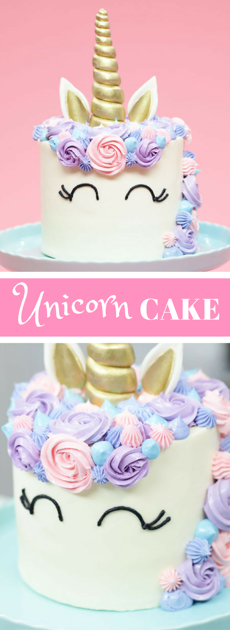 An Easy Funfetti Unicorn Cake Recipe Adorned In Pastel Buttercream And Topped With A Golden Horn Makes One 6 Inch
