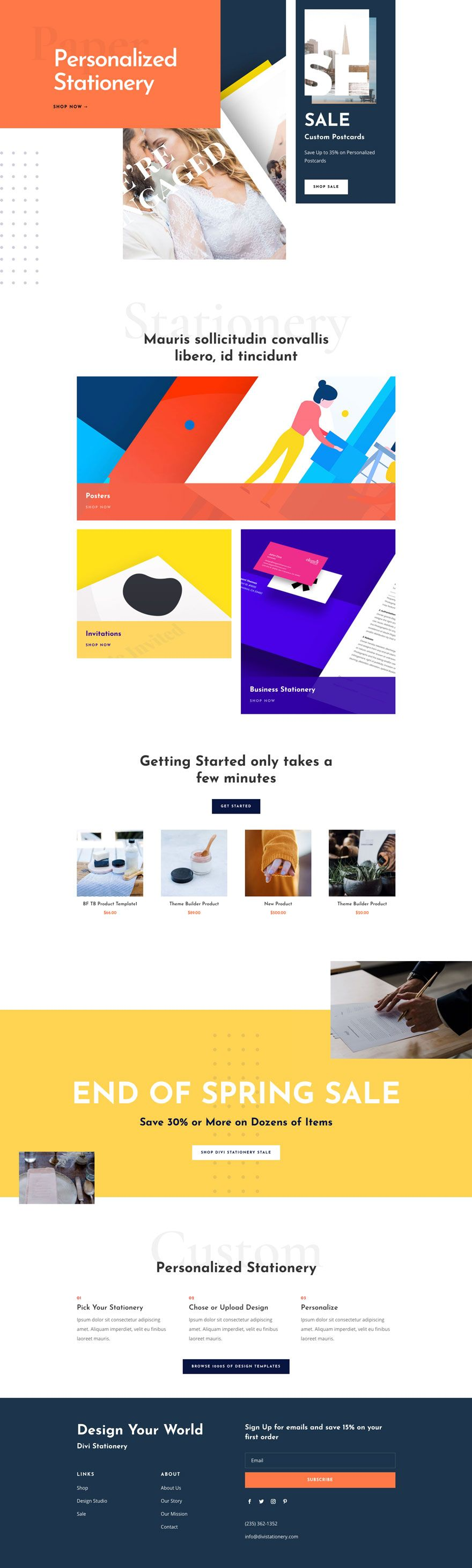Get A Free Stationery Shop Layout Pack For Divi Free Stationery Wordpress Theme Stationery