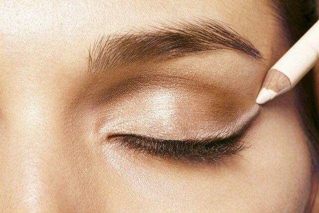 Delineado De Ojos Con Lapiz Blanco Maquillaje Ojos De Gato Ojos