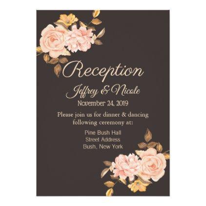 Elegant Cream Rose Bouquet Wedding Reception Card country ts