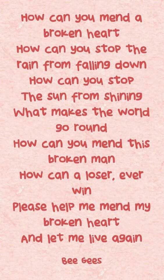 Bee gees broken heart lyrics
