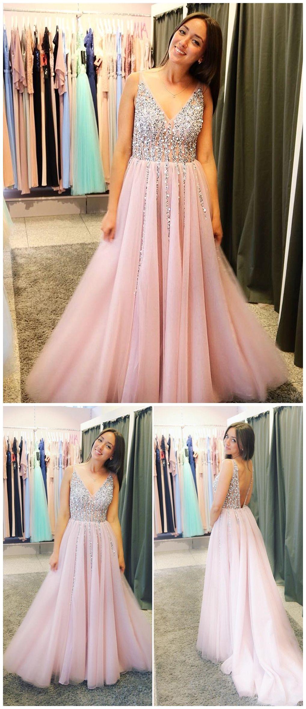 A line beaded pink prom dresses v neck backless formal dresses