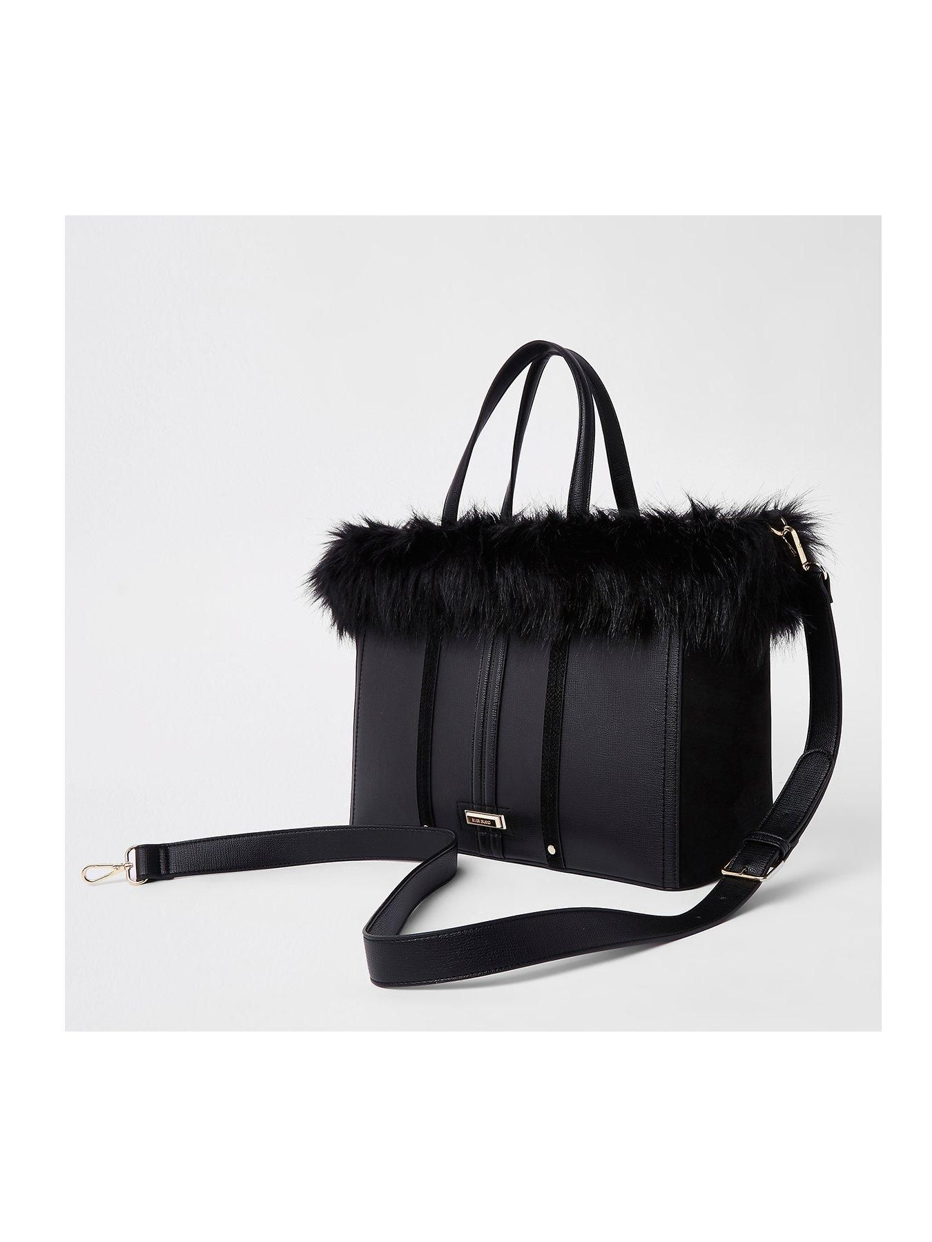 7ff336809d River Island River Island Faux Fur Top Tote Bag - Black
