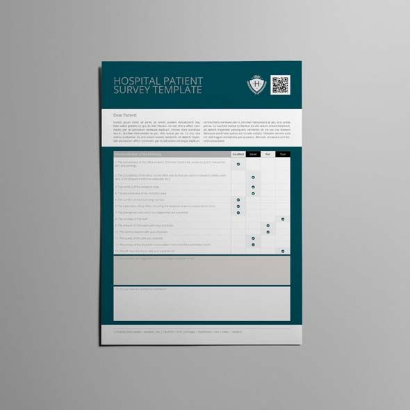 Hospital Patient Survey Template  Cmyk  Print Ready  Clean And