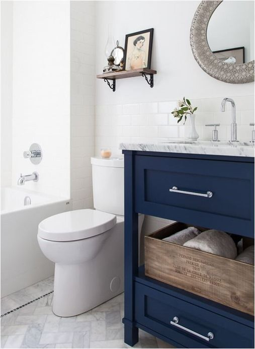 navy and white bathroom the navy blue w the marble floors also herringbone 19721
