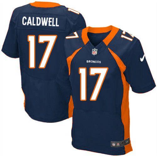 mens nike denver broncos 17 andre caldwell elite navy blue alternate nfl jersey sale