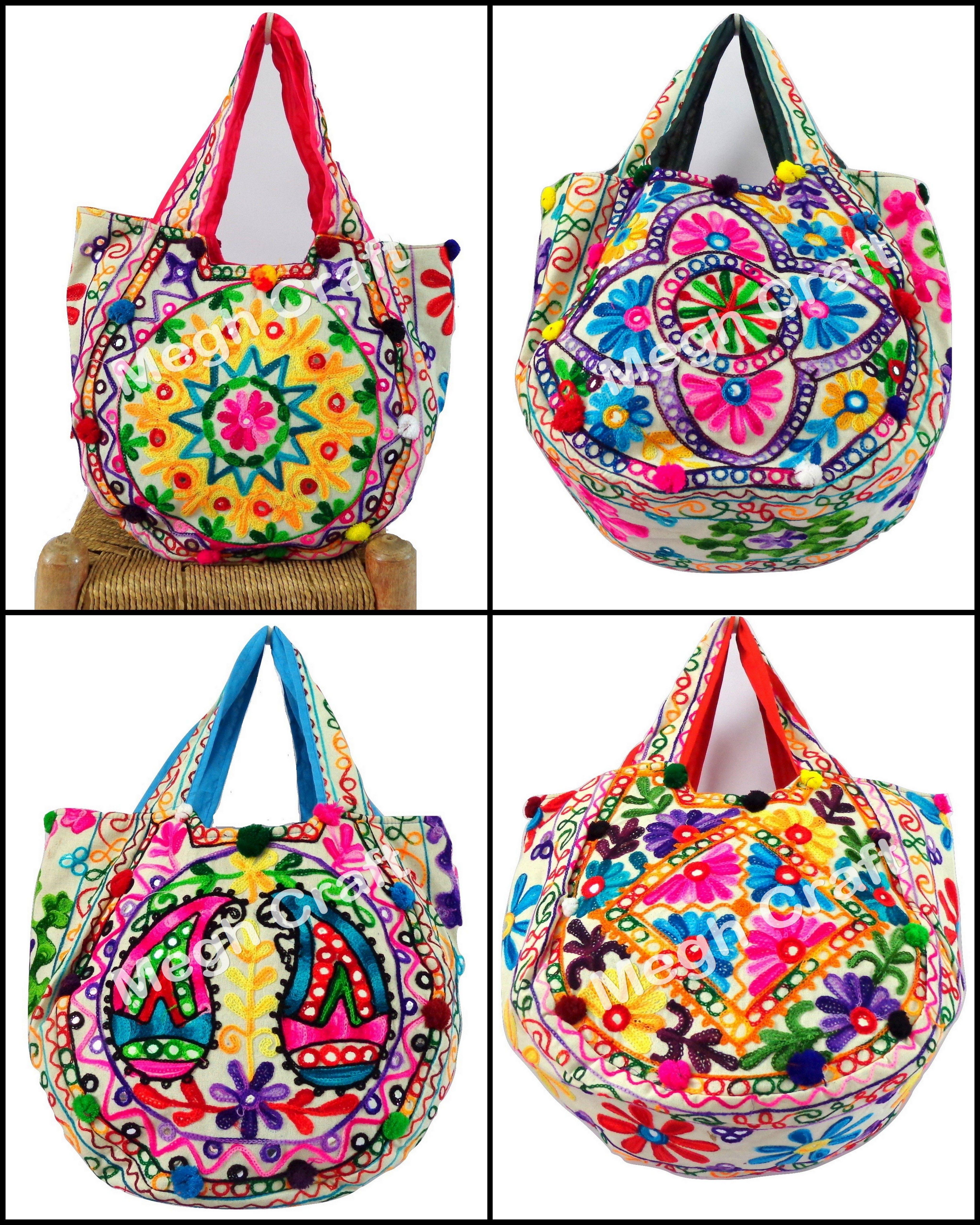 d4ca1ed152 Vintage banjara beach handbag - Women handmade kutch embroidered tote bag -  Bohemian vintage lover mirror