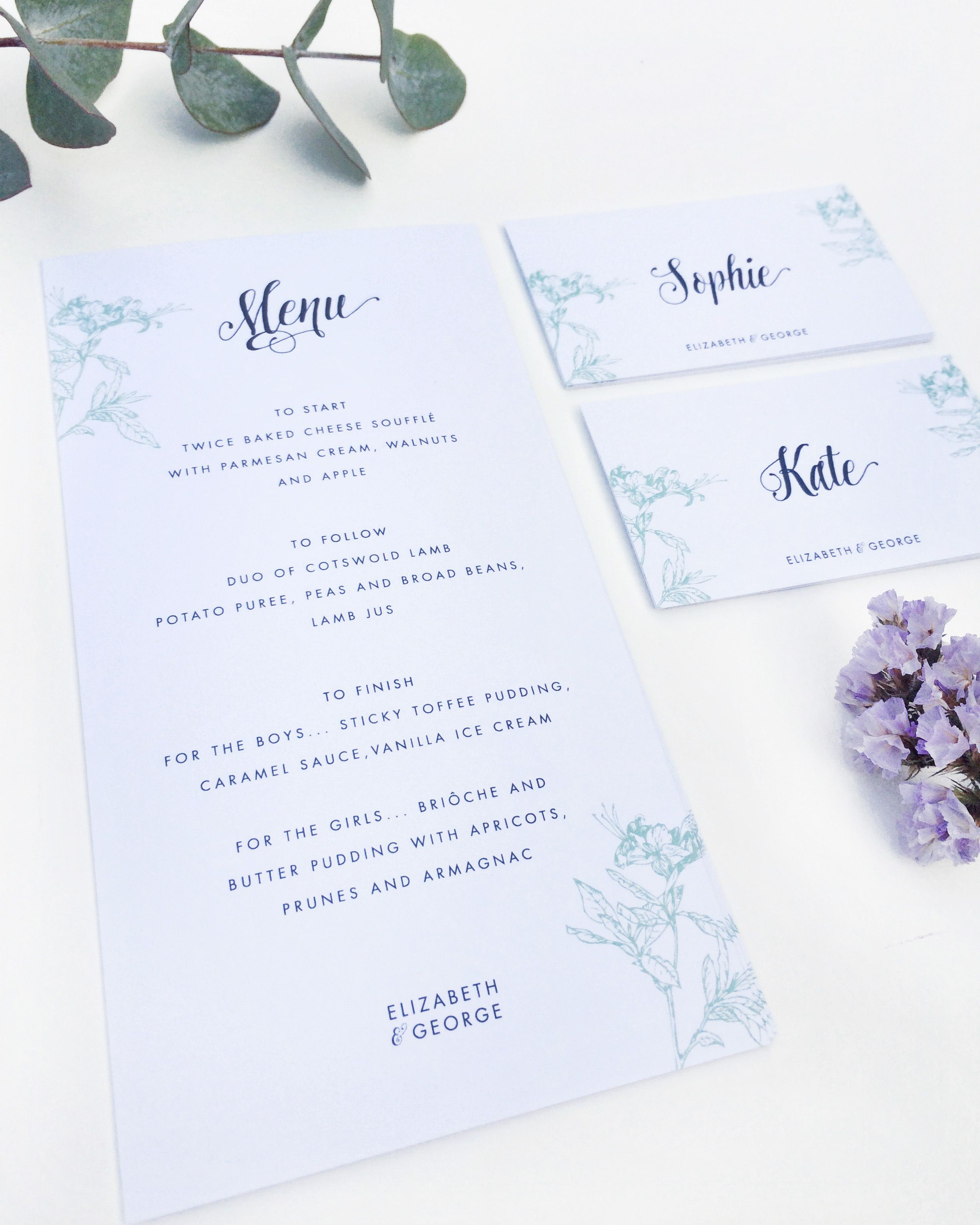 New Pea Nut Wedding Collection Stationery Menu Save The Date