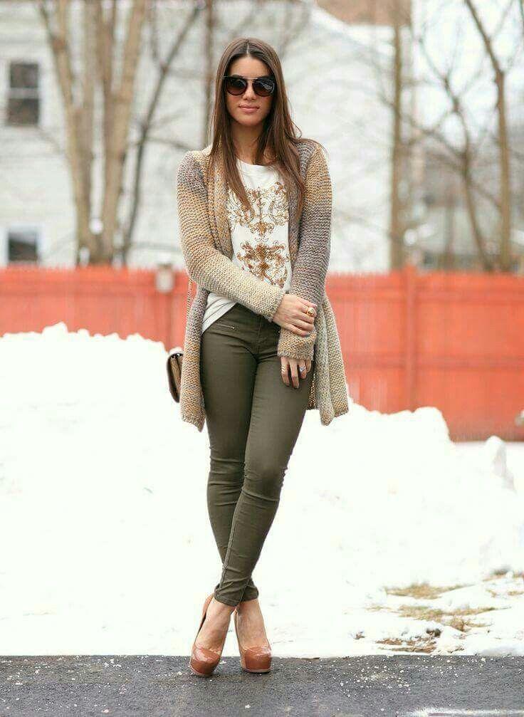 Pantalon Verde Ropa De Moda Ropa Casual Pantalon Verde Militar Mujer