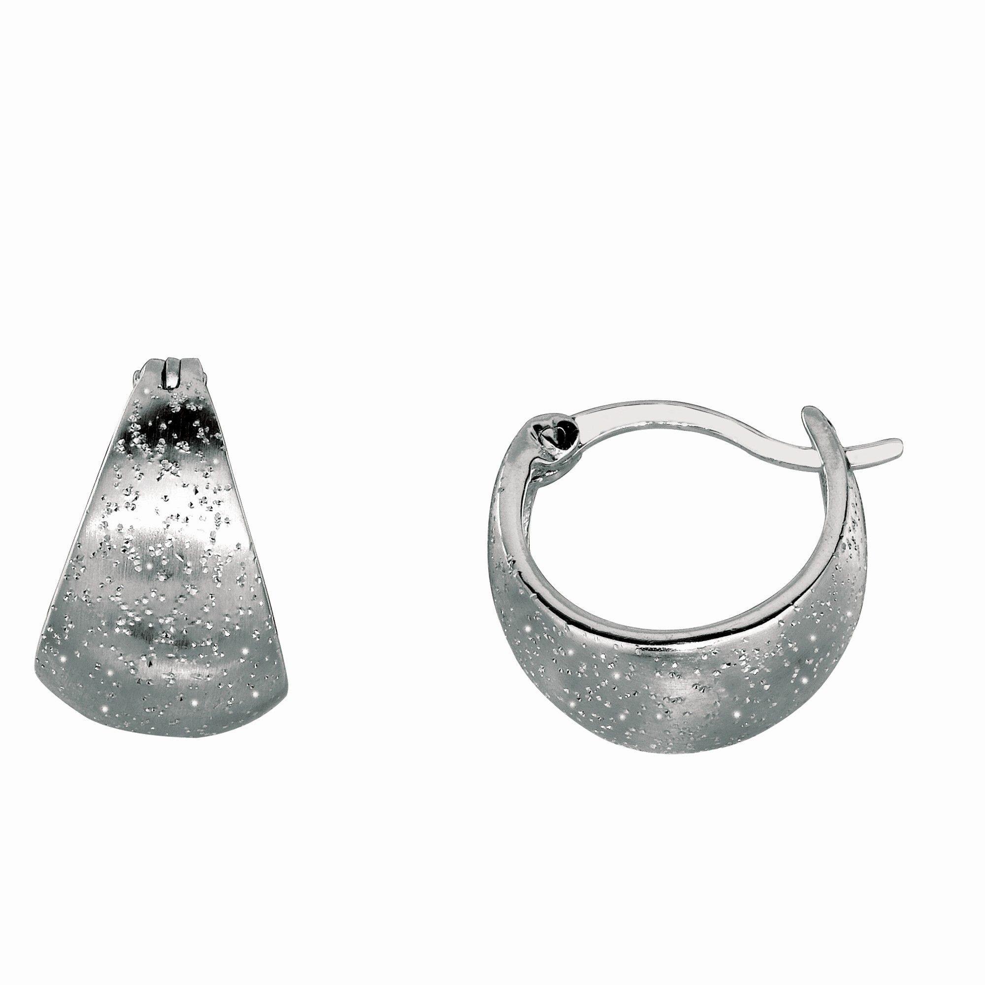 Rhodium Stardust Graduated Hoop Type Earring