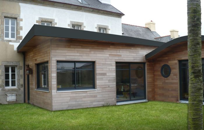 Wood extension maison finistere extension pinterest extension maison extension et maison Photos agrandissement maison