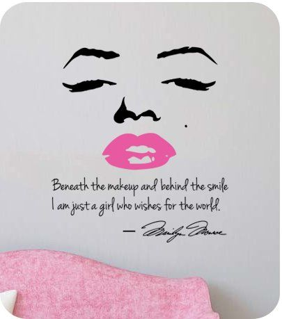 Marilyn Monroe Wall Decal Decor Quote Face Pink Lips Large Nice