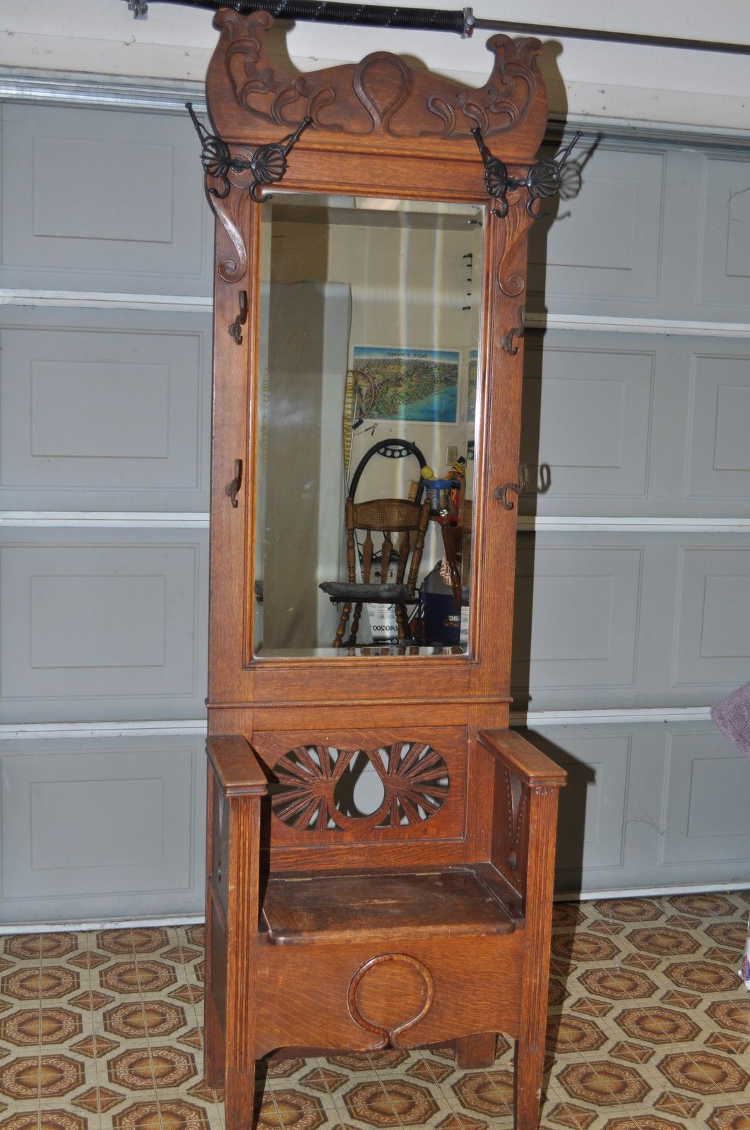 Antique Oak Entry Hall Tree With Storage Bench Beveled Mirror Butterfly Hook Entry Hall