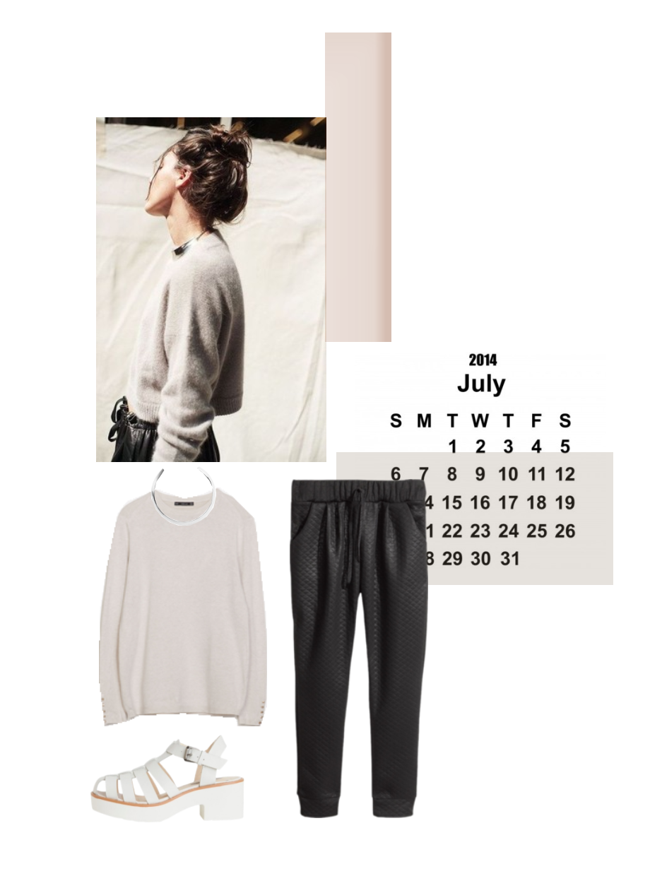 Vernez editorial collage. Fashion, sporty, neutral, minimalist, July, knit, calendar, inspiration, beige, grey