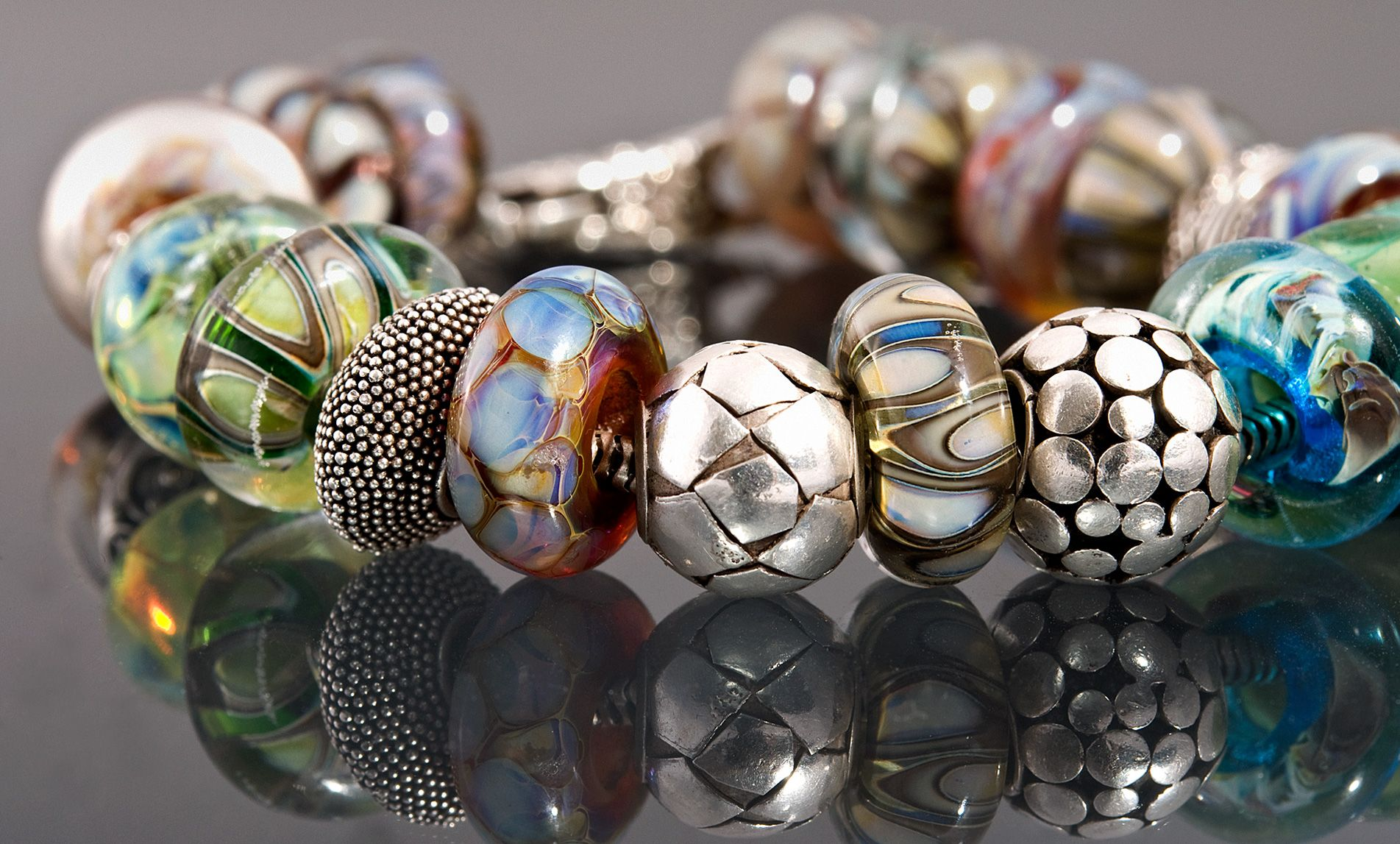 Glitzerglas - Glasperlen - Pandora / Trollbeads Style Muranoglasperlen
