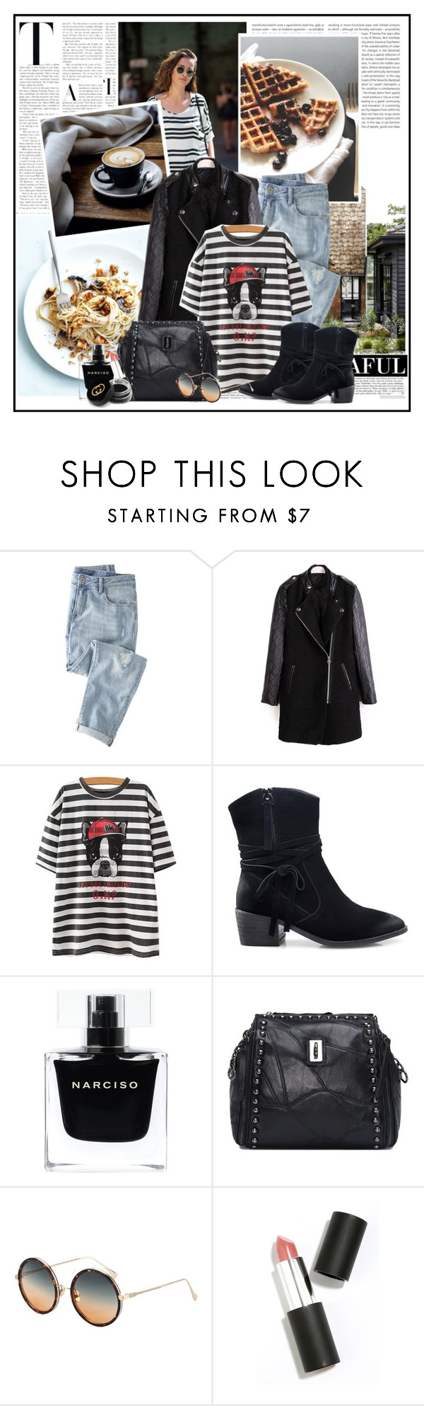 """""""Zaful.com 35..."""" by cindy88 ❤ liked on Polyvore featuring Oris, Wrap, Narciso Rodriguez, Sigma Beauty, Gucci and zaful"""