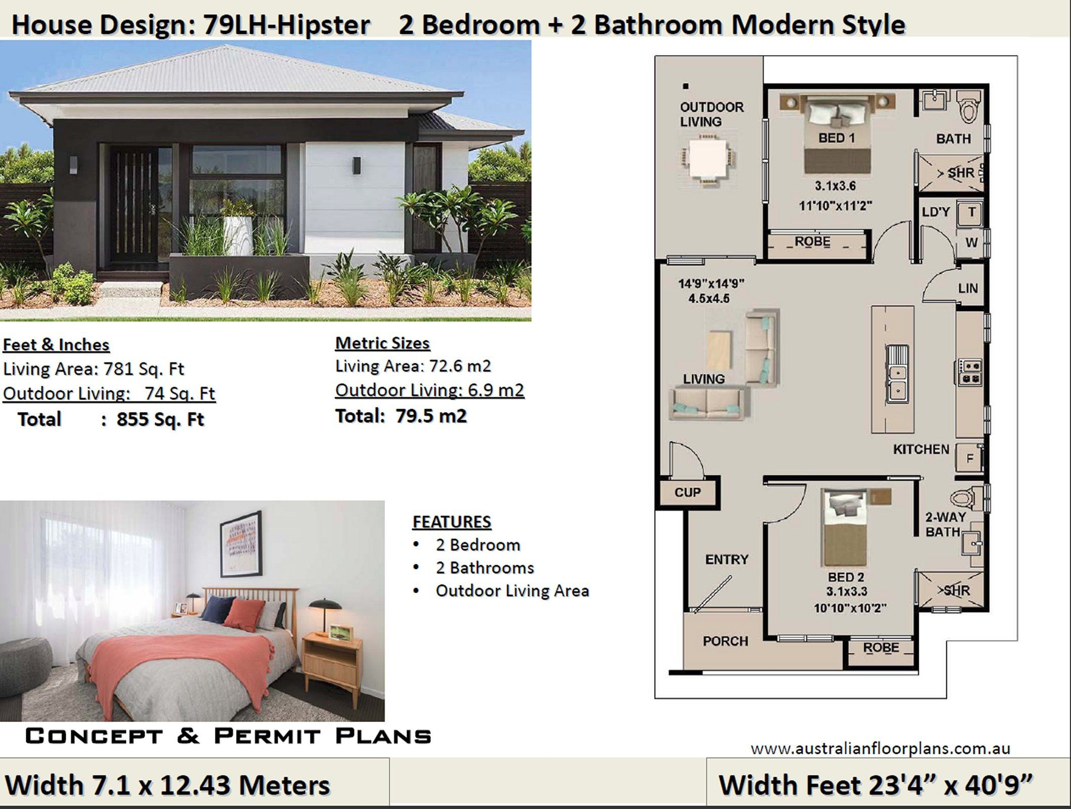 2 Bedroom House Plan No 79 Hipster Living Area 79 5 M2 Etsy House Plans For Sale Small House Design Tiny House Plans