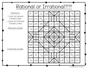 Rational or Irrational Coloring Worksheet FREE math