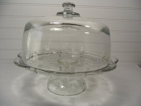 12  1950u0027s Vintage Glass Cake Stand with Dome Rose Garden Design Glass Cake & 12