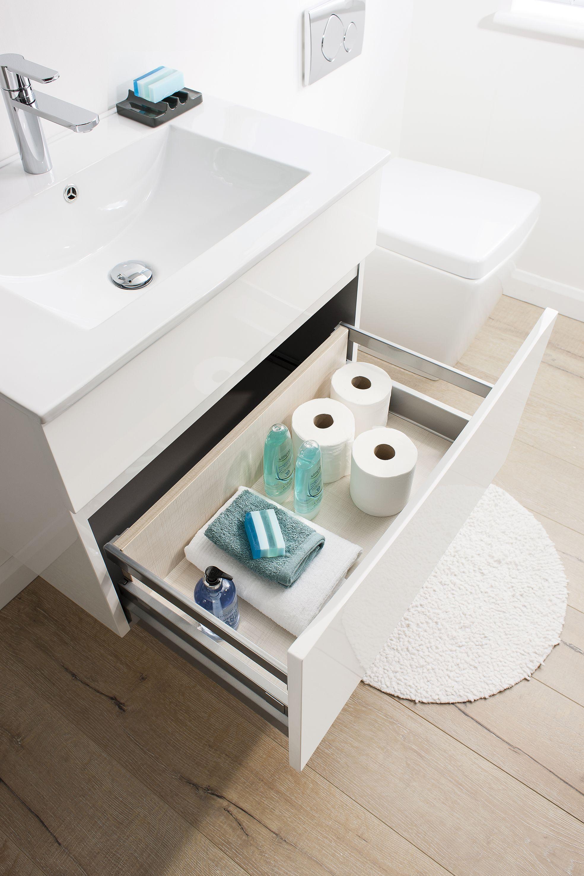 Glide II White Gloss Bathroom Furniture Unit & Ceramic Basin from ...
