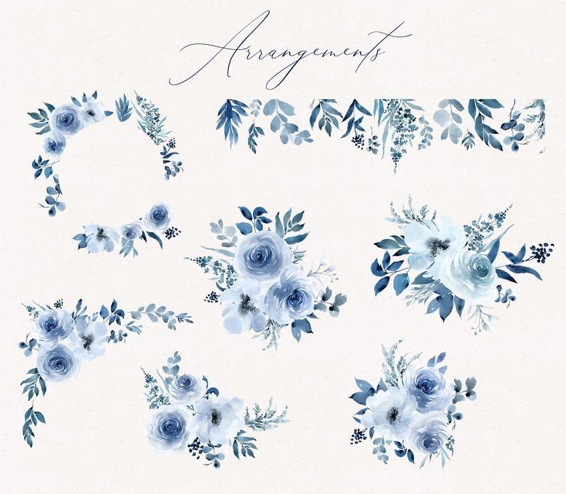 Anabella Blue Watercolor Flowers Png Clipart Set Blue Floral Dusty Blue Floral Clip Art Indigo Navy Sapphire Bouquets Arrangements Png Molduras Para Convites De Casamento Logotipo Casamento Monograma Casamento