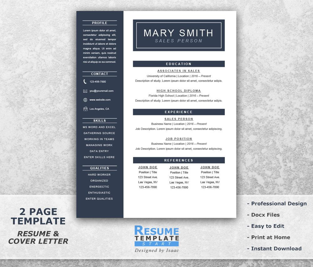 One Page Resume Template Word Resume Cover by ResumeTemplateStart ...