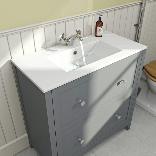 The Bath Co. Camberley satin grey floorstanding vanity unit and ceramic basin 800mm