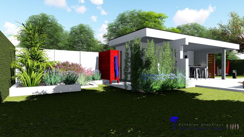 Pool House Contemporain Avec Cuisine Du0027été, Douche, Local Technique Et ...