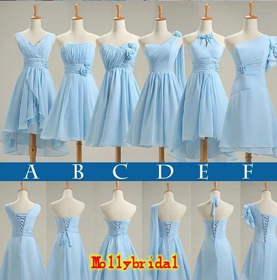 Light Sky Blue Bridesmaid Dresses New Short 2016 Pleated Chiffon ...