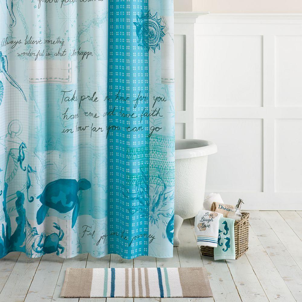 Barbados Fabric Shower Curtain Beach Shower Curtains Sea Theme