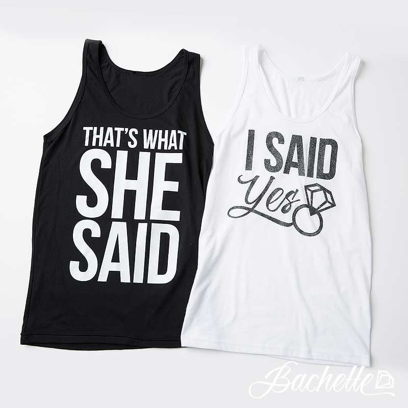 "Super cute, funny and hilarious  ""I Said Yes"" and ""That's What She Said"" glittery bachelorette party shirts available at bachette.com."