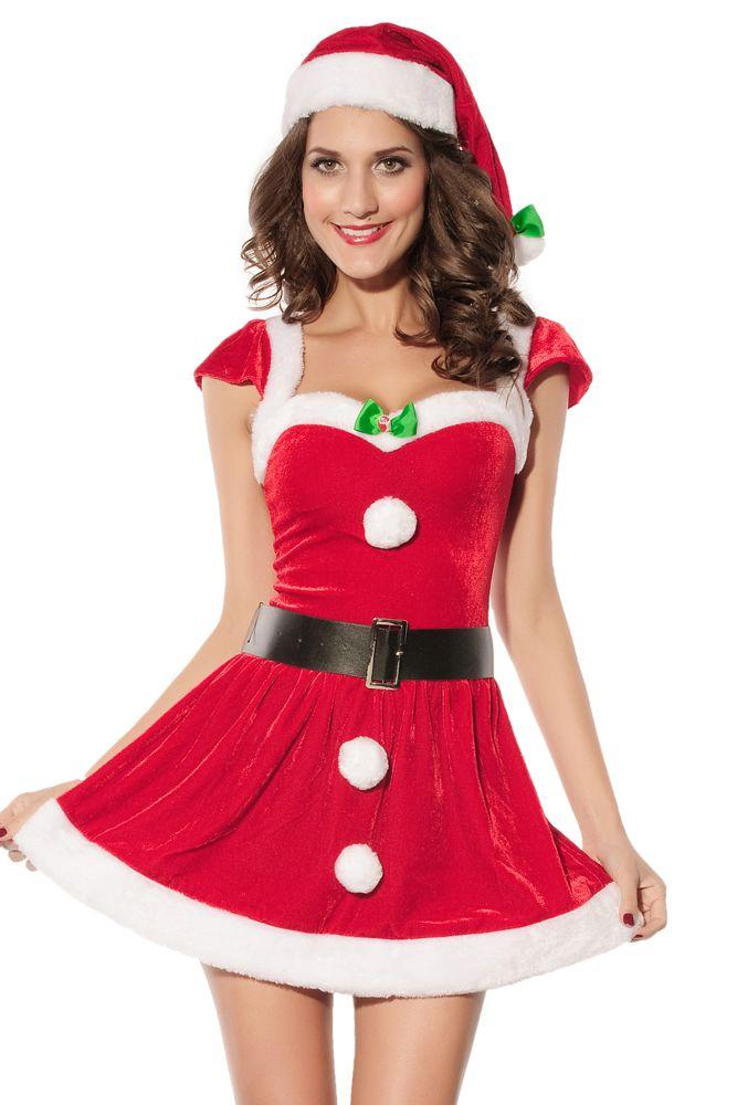 7751a6acb2a11f Mrs Santa Artikelcode  7170sy Kerstvrouw kostuum. Bestaande uit jurkje met  zwarte riem en een